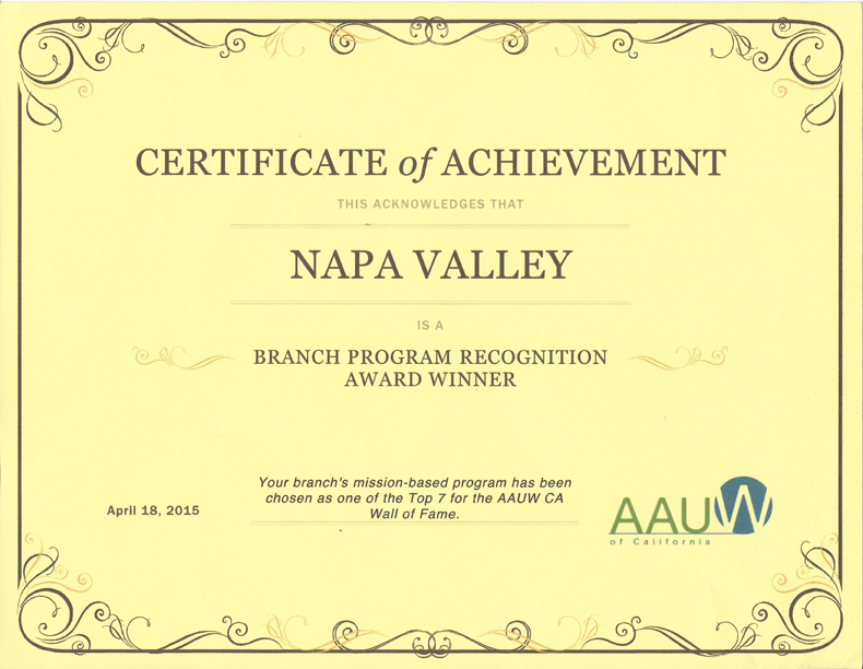 Branch Programs Recognition Award Certificate (April 2015)chievement_Napa_County_Branch_April2015